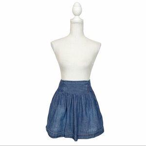 Lucky Brand Chambray Denim Mini Skirt Boho/Preppy Size XS